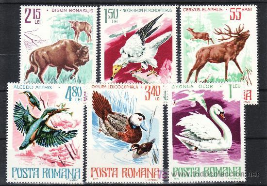 RUMANIA 3021/6 SIN CHARNELA, FAUNA, CAZA, AVES, PAJAROS, PROTECCION DE LA NATURALEZA, (Sellos - Extranjero - Europa - Rumanía)