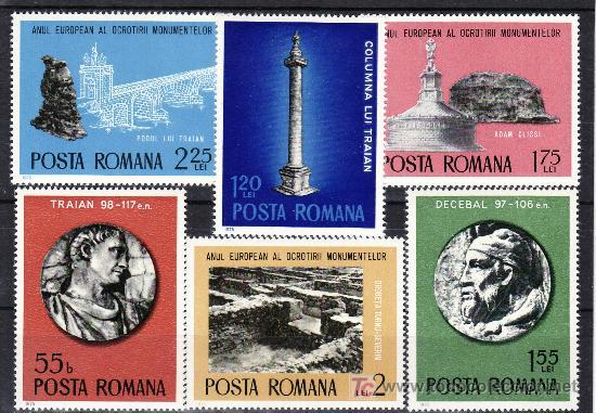 RUMANIA 2901/6 SIN CHARNELA, ARQUEOLOGIA, AÑO EUROPEO DE LA PROTECCION DE LOS MONUMENTOS, (Sellos - Extranjero - Europa - Rumanía)