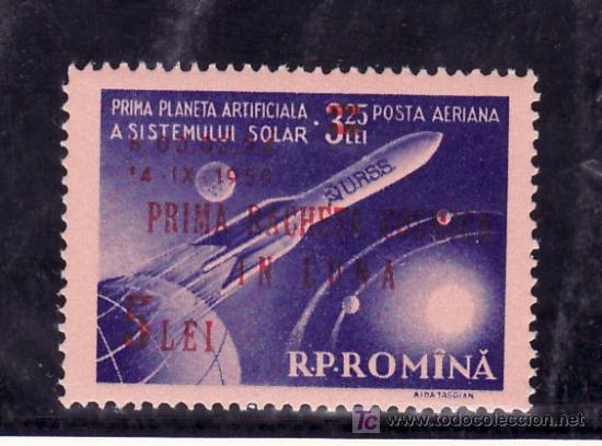 RUMANIA A 101 CON CHARNELA, SOBRECARGADO, ESPACIO, LUNIK II (Sellos - Extranjero - Europa - Rumanía)
