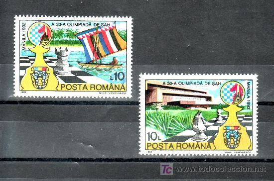 RUMANIA 4007/8 SIN CHARNELA, DEPORTE, OLIMPIADA DE AJEDREZ EN MANILA, (Sellos - Extranjero - Europa - Rumanía)