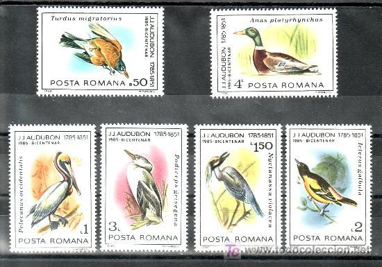 RUMANIA 3577/22 SIN CHARNELA, FAUNA, AVES, BICENTENARIO NACIMIENTO ORNITOLOGO J.J. AUDUBON, PAJAROS, (Sellos - Extranjero - Europa - Rumanía)