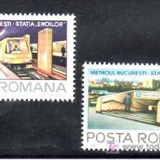 Sellos: RUMANIA 3372/3 SIN CHARNELA, FFCC, METRO, METROPOLITANO DE BUCAREST,. Lote 13922771