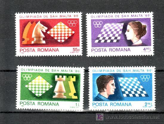 RUMANIA 3298/301 SIN CHARNELA, DEPORTE, OLIMPIADA DE AJEDREZ EN MALTA, (Sellos - Extranjero - Europa - Rumanía)
