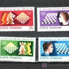 Sellos: RUMANIA 3298/301 SIN CHARNELA, DEPORTE, OLIMPIADA DE AJEDREZ EN MALTA, . Lote 13923350