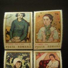 Sellos: RUMANIA 1986 IVERT 3651/4 - CENTENARIO NACIMIENTO PINTOR NICOLAS TONITZA - PINTURA. Lote 14607553