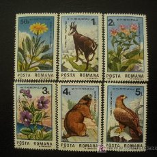 Sellos: RUMANIA 1985 IVERT 3599/604 *** 50º ANIVERSARIO PARQUE NACIONAL RETEZAT - FAUNA - FLORA. Lote 14607913