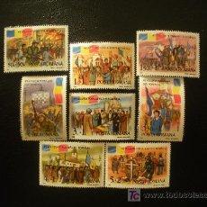 Sellos: RUMANIA 1990 IVERT 3896/903 *** 1ER. ANIVERSARIO LEVANTAMIENTO POPULAR. Lote 17816307