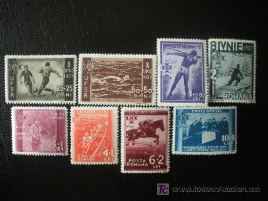 RUMANIA 1937 IVERT 515/22 *** 7º ANIV. CARLOS II Y 25 ANIV.UNIÓN FEDERAL DEPORTIVA RUMANA - DEPORTES (Sellos - Extranjero - Europa - Rumanía)