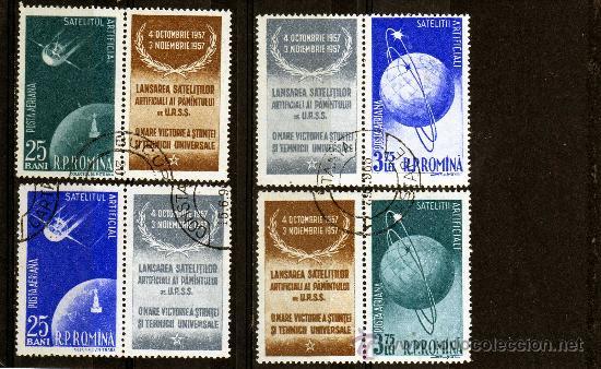 ++ RUMANIA / ROMANIA / ROEMENIE AÑO 1957 C.A. YVERT NR.69/72 USADA CON VIÑETA COSMOS (Sellos - Extranjero - Europa - Rumanía)