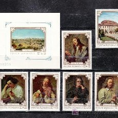 Sellos: RUMANIA 2580/5, HB 82 SIN CHARNELA, PINTURA DEL MUSEO DE BRUCKENTHAL EN SIBIU. Lote 20342577