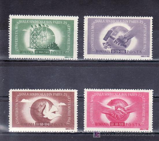 RUMANIA 882/5 SIN CHARNELA, CONGRESO MUNDIAL SINDICAL EN PARIS (Sellos - Extranjero - Europa - Rumanía)