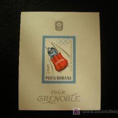 Sellos: RUMANIA 1967 HB IVERT 65 *** JUEGOS OLIMPICOS DE INVIERNO DE GRENOBLE - DEPORTES. Lote 21155501