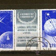Francobolli: TRIPTIC DE ROMANIA AÑO 1957 CORREO AEREO YVERT NR.70 Y 72 USADO COSMOS. Lote 22471503