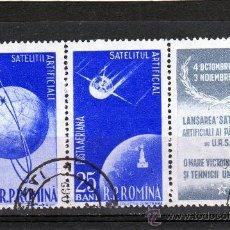 Francobolli: TRIPTIC DE ROMANIA AÑO 1957 CORREO AEREO YVERT NR.70 Y 72 USADO COSMOS. Lote 22471590