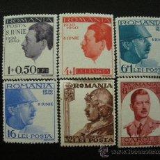Sellos: RUMANIA 1940 IVERT 597/602 *** 10º ANIVERSARIO DEL ADVENIMIENTO DEL REY CARLOS II - CASA REAL . Lote 22709226