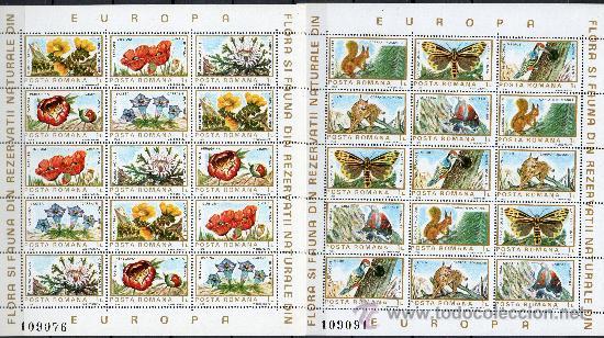RUMANÍA AÑO 1983 YV 3465/74*** HB - CONSERVACIÓN DE LAS RESERVAS NATURALES EUROPEAS - FAUNA - FLORA (Sellos - Extranjero - Europa - Rumanía)