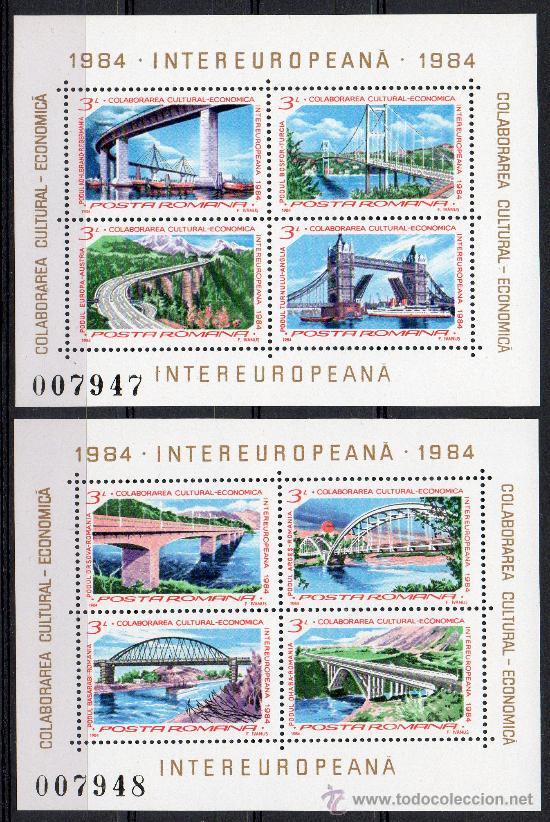 RUMANÍA AÑO 1984 YV HB 166/67*** COLABORACIÓN ECONOMICO-CULTURAL EUROPEA - PUENTES - ARQUITECTURA (Sellos - Extranjero - Europa - Rumanía)