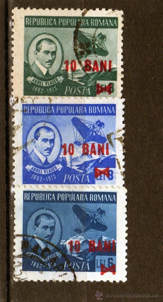 ++ RUMANIA / ROMANIA / ROUMANIE AÑO 1952 YVERT NR.1190/92 USADA OVERPRINT AUREL VLAICU (Sellos - Extranjero - Europa - Rumanía)