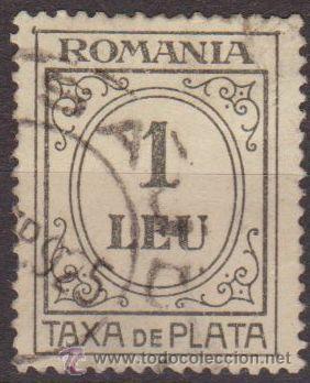 RUMANIA 1920 SCOTT J67 SELLO PORTES DEBIDOS TAXA DE PLATA NUMEROS 1 LEU USADO (Sellos - Extranjero - Europa - Rumanía)