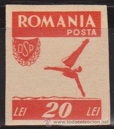 RUMANIA 1946 SCOTT 629 SELLO ** DEPORTES NATACIÓN SALTOS 20L SIN DENTAR ROMANIA POSTA (Sellos - Extranjero - Europa - Rumanía)
