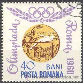 RUMANIA 1964 SCOTT 1694 SELLO MEDALLAS OLIMPICAS MELBOURNE SALTO ALTURA 40B º MI.2071 YV.2348 ROMINA (Sellos - Extranjero - Europa - Rumanía)