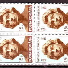 Timbres: RUMANIA / ROMANIA / ROUMANIE.***.AÑO 1993.YVERT NR.4063.PERSONAJES.LITERATURA.POETA.BLOQUE DE 4.. Lote 30607502