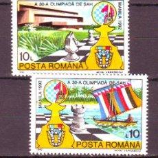 Sellos: RUMANIA / ROMANIA / ROUMANIE.***.AÑO 1992.YVERT NR.4007/4008.AJEDREZ.OLIMPIADA MANILLA.. Lote 30694079