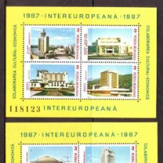 Sellos: RUMANIA / ROMANIA / ROUMANIE.***AÑO 1987.YVERT HB. NR.187/188.ARQUITECTURA RUMANA.HOTELES..... Lote 30794279