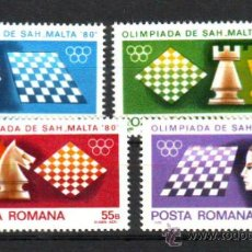 Sellos: RUMANIA / ROMANIA / ROUMANIE.***.AÑO 1980.YVERT NR.3298/3301.OLIMPIADA AJEDREZ EN MALTA.. Lote 30900546