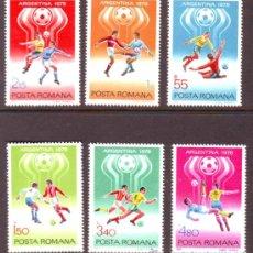 Sellos: RUMANIA / ROMANIA / ROUMANIE.***.AÑO 1978.YVERT NR.3094/3099..DEPORTES.MUNDIAL FUTBOL ARGENTINA.. Lote 30947384