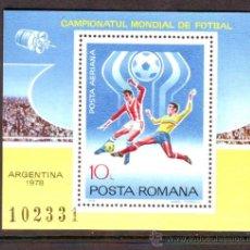 Sellos: RUMANIA / ROMANIA / ROUMANIE.***.AÑO 1978.YVERT NR. HB.133.DEPORTES.MUNDIAL FUTBOL ARGENTINA.. Lote 30947406