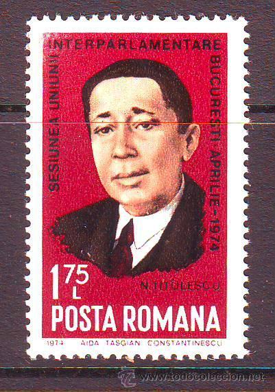 RUMANIA / ROMANIA / ROUMANIE.***.AÑO 1974.YVERT NR.2834.PERSONAJES.NICOLAE TITULESCU. (Sellos - Extranjero - Europa - Rumanía)