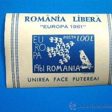 Sellos: ROMANIA LIBERA EUROPA 1961 POSTA 1,00 L DEL GOBIERNO RUMANO ANTICOMUNISTA EN EL EXILIO - MUY RARO. Lote 31197801