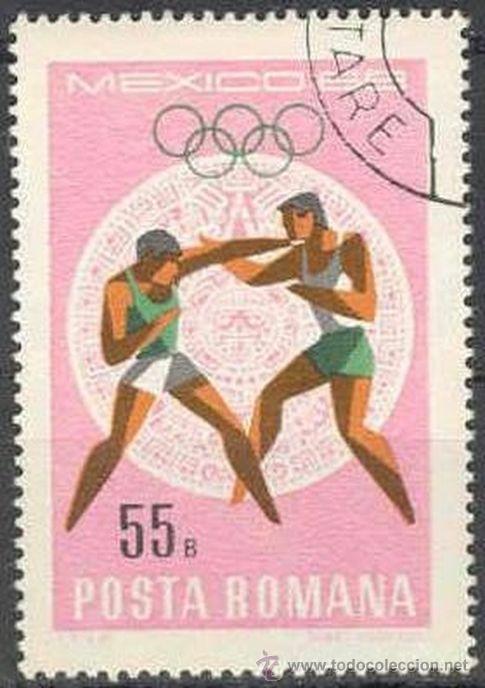RUMANIA 1968 SCOTT 2033 SELLOS º SPORTS JUEGOS OLIMPICOS MEXICO BOXEO 55BANI ROUMANIE ROMINA ROMANIA (Sellos - Extranjero - Europa - Rumanía)