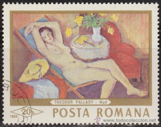 RUMANIA 1971 SCOTT 2089 SELLO º PINTURAS DESNUDO MUJER RECLINADA DE THODOR PALLADY 20B ROUMANIE (Sellos - Extranjero - Europa - Rumanía)