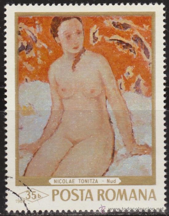 RUMANIA 1971 SCOTT 2090 SELLO º PINTURAS DESNUDO MUJER SENTADA DE NICOLAE TONITZA 35B ROUMANIE ROMIN (Sellos - Extranjero - Europa - Rumanía)