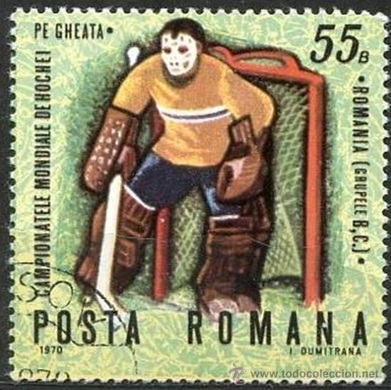 RUMANIA 1971 SCOTT 2149 SELLO º SPORTS CAMPEONATO MONDIALE HOCKEY HIELO PORTERO 55B ROUMANIE ROMINA (Sellos - Extranjero - Europa - Rumanía)