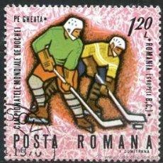 Sellos: RUMANIA 1971 SCOTT 2150 SELLO º SPORTS CAMPEONATO MUNDIAL HOCKEY HIELO JUGADA 1,20LEU ROUMANIE ROMI. Lote 31282013