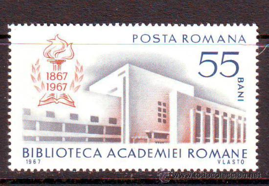 RUMANIA / ROMANIA / ROUMANIE.***.AÑO 1967.YVERT NR.2336.CENTENARIO BIBLIOTECA ACADEMIA RUMANA. (Sellos - Extranjero - Europa - Rumanía)