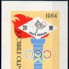 Sellos: RUMANIA AÑO 1964 YV HB 58*** JUEGOS OLÍMPICOS DE TOKIO - DEPORTES - ANTORCHA OLÍMPICA. Lote 34675466
