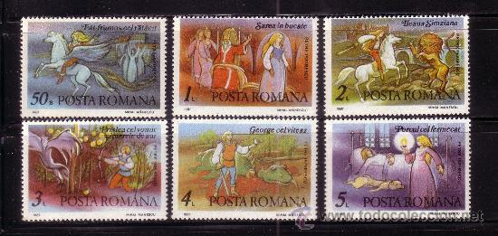 RUMANIA 3750/55*** - AÑO 1987 - CENTENARIO DEL NACIMIENTO DEL ESCRITOR PETRE ISPIRESCU (Sellos - Extranjero - Europa - Rumanía)