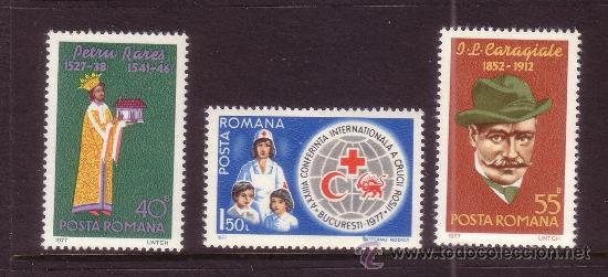 RUMANIA 3035/37*** - AÑO 1977 - ANIVERSARIOS - MEDICINA - CRUZ ROJA (Sellos - Extranjero - Europa - Rumanía)