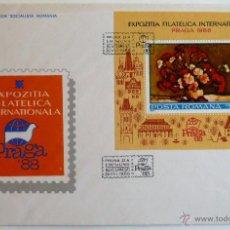 Sellos: RUMANIA. SOBRE 1º DIA EXPOSICION FILATELICA INTERNACIONAL PRAGA 88. BUCAREST 1988.. Lote 44059572