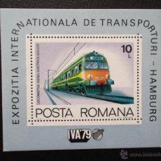 Timbres: RUMANÍA. HB 138 EXPOSICIÓN INTERNACIONAL DE TRANSPORTES: LOCOMOTORA DIÉSEL-ELÉCTRICA 4000 CP**. 1979. Lote 44129203