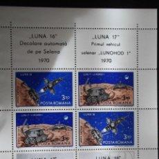 Sellos: RUMANÍA. HB 84 LUNA 16 Y LUNA 17**. 4 SELLOS + 4 VIÑETAS CON NAVES ESPACIALES VARIAS. 1971. SELLOS N. Lote 44129916