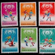 Sellos: RUMANIA. 3094/99 COPA MUNDIAL FÚTBOL: ARGENTINA'78. FASES DEL JUEGO. 1978. SELLOS USADOS Y NUMERACIÓ. Lote 47134181
