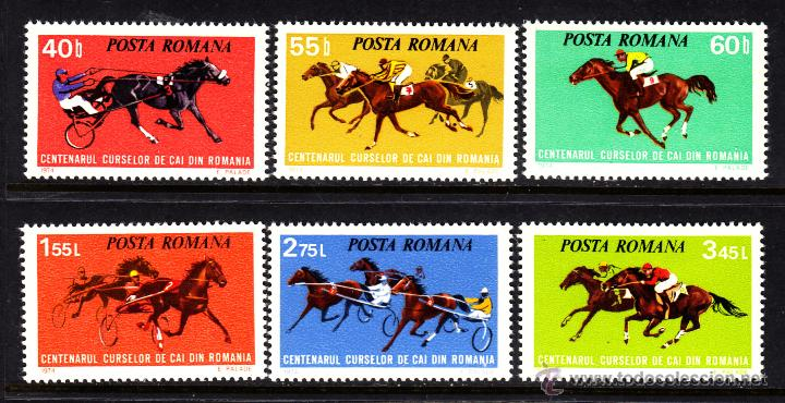 RUMANIA 2828/33** - AÑO 1974 - CENTENARIO DE LAS CARRERAS DE CABALLOS EN RUMANIA (Sellos - Extranjero - Europa - Rumanía)