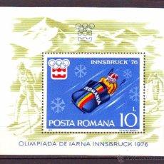 Timbres: RUMANIA.AÑO 1976.DEPORTES INVIERNO.INNSBRUCK 76.YVERT H.B. NR.123.CON FIJASELLOS.. Lote 48665898
