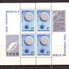 Timbres: RUMANIA.AÑO 1969.ESPACIO.COSMOS.APOLLO 8.YVERT H.B. GRAN TAMAÑO NR.70.ALTO VALOR.SIN GOMA. Lote 48666611