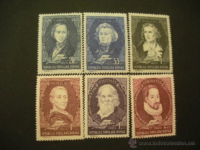 RUMANIA 1955 IVERT 1424/9 * GLORIAS DE LA LITERATURA INTERNACIONAL - PERSONAJES (Sellos - Extranjero - Europa - Rumanía)